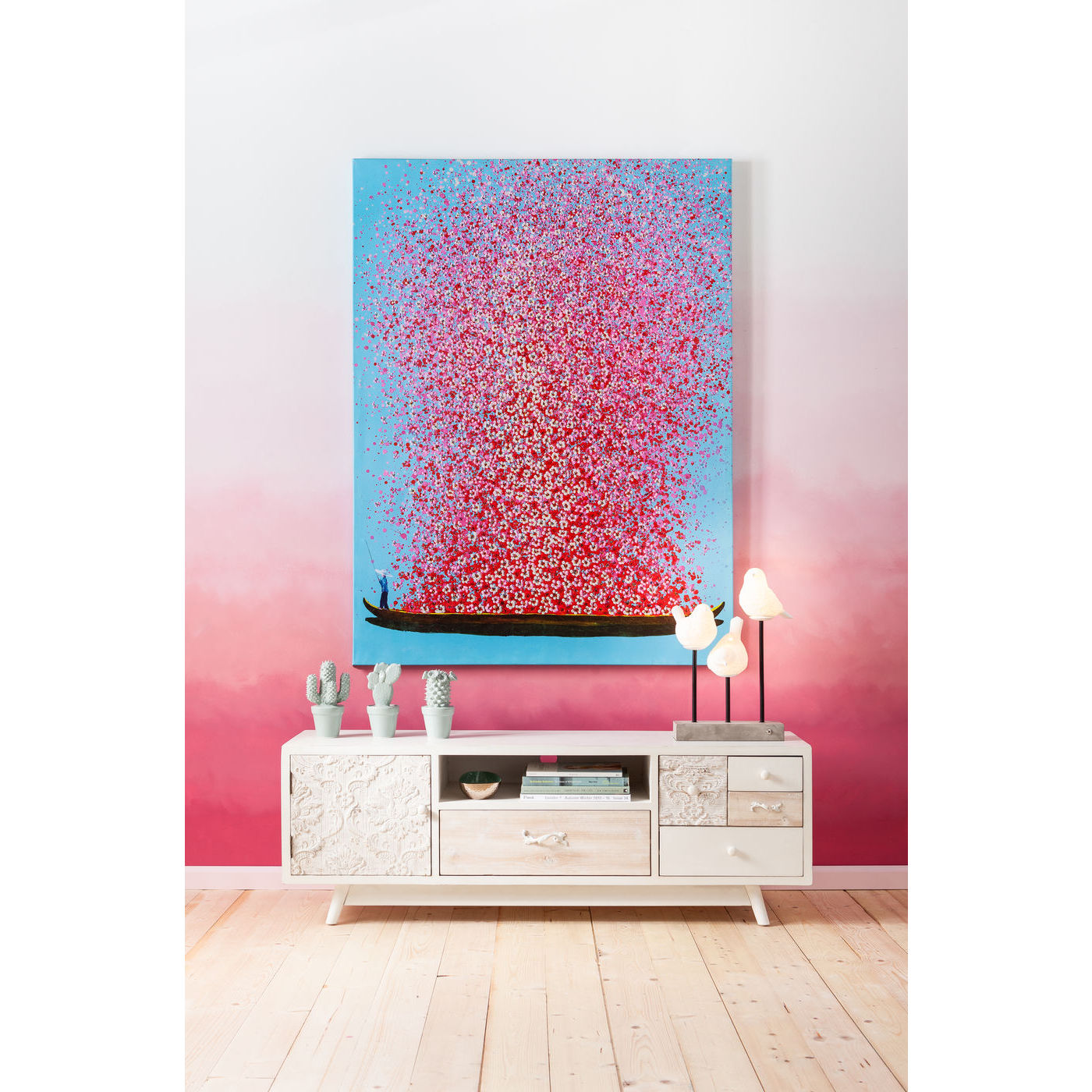 bild gem lde druck kunstdruck lbild leinwand blau rosa bl ten boot neu kare ebay. Black Bedroom Furniture Sets. Home Design Ideas