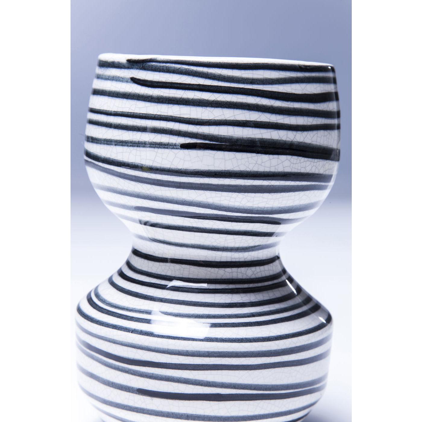 vase deko dekovase blumenvase keramik steinzeug wei schwarz 19cm neu kare ebay. Black Bedroom Furniture Sets. Home Design Ideas