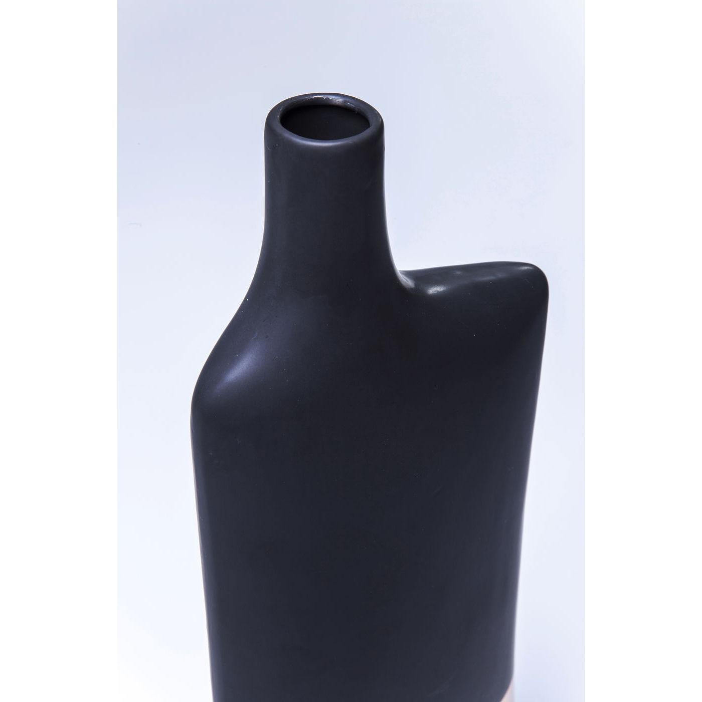 vase deko dekovase blumenvase steinzeug largo asymetric 36cm schwarz gold neu ebay. Black Bedroom Furniture Sets. Home Design Ideas