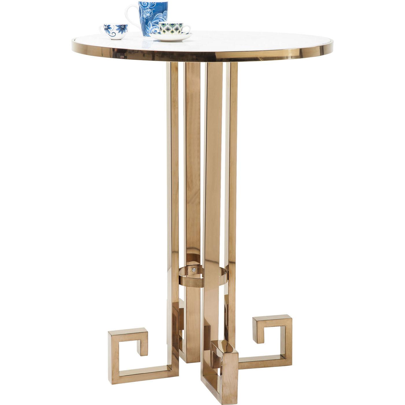 Tisch stehtisch bistrotisch bartisch rund 80cm gold marmor for Kare design tisch rund