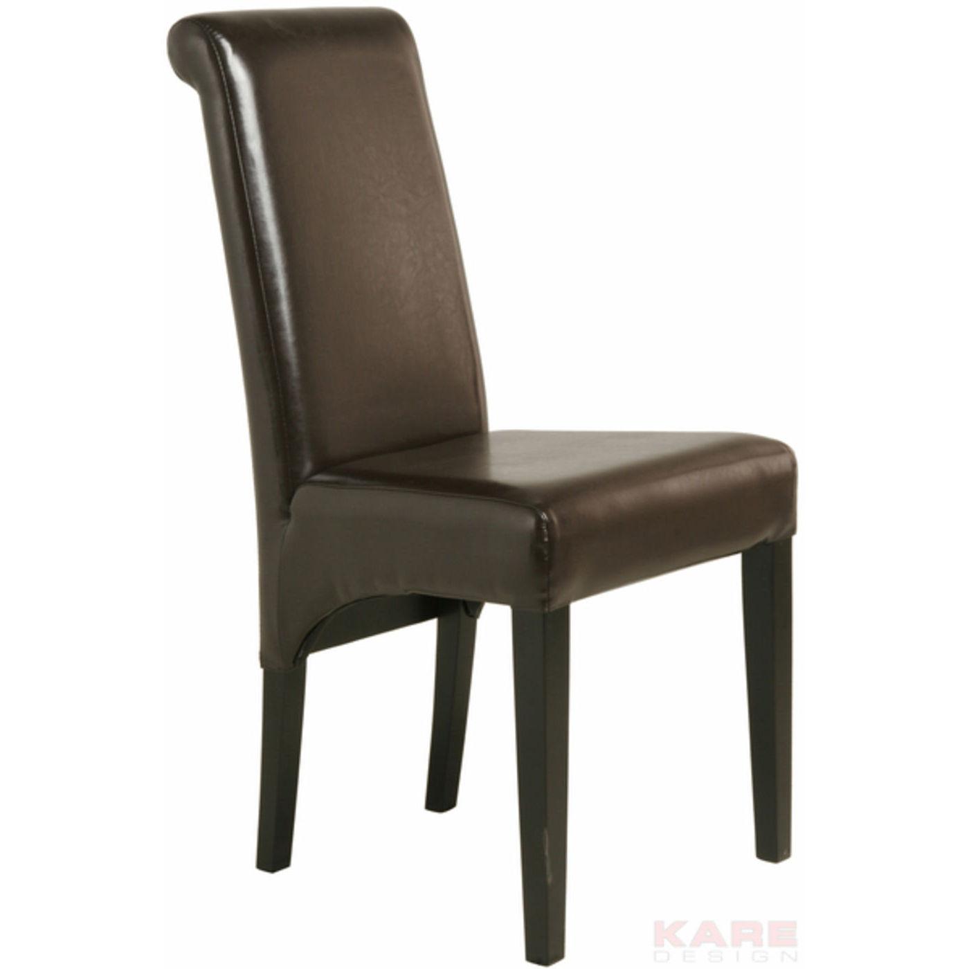Stuhl polsterstuhl esszimmerstuhl lederlook braun neu kare for Stuhl design ebay